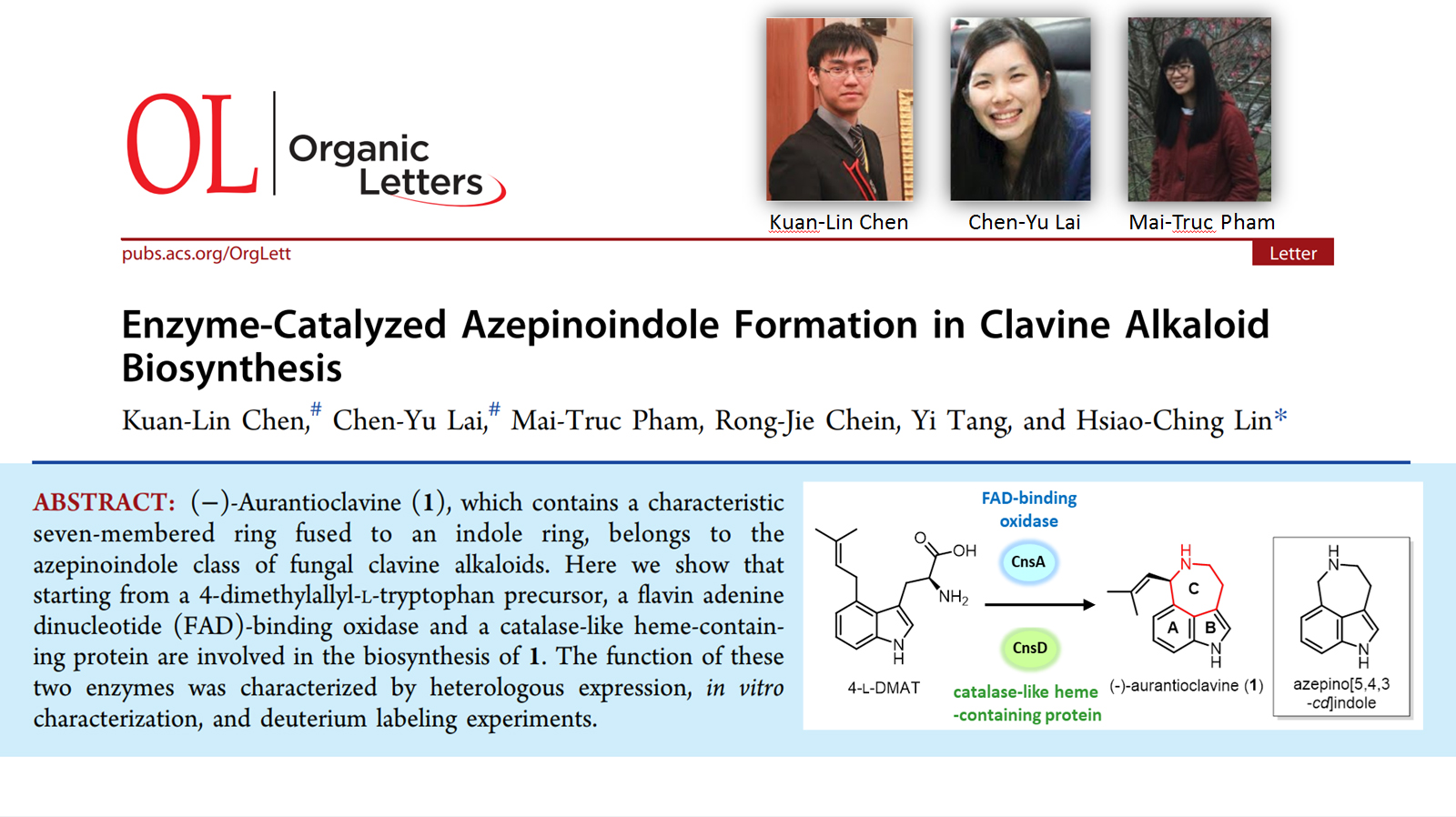 Enzyme-Catalyzed Azepinoindole Formation in Clavine Alkaloid Biosynthesis